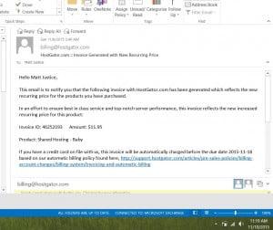 Hostgator Raising Prices Email