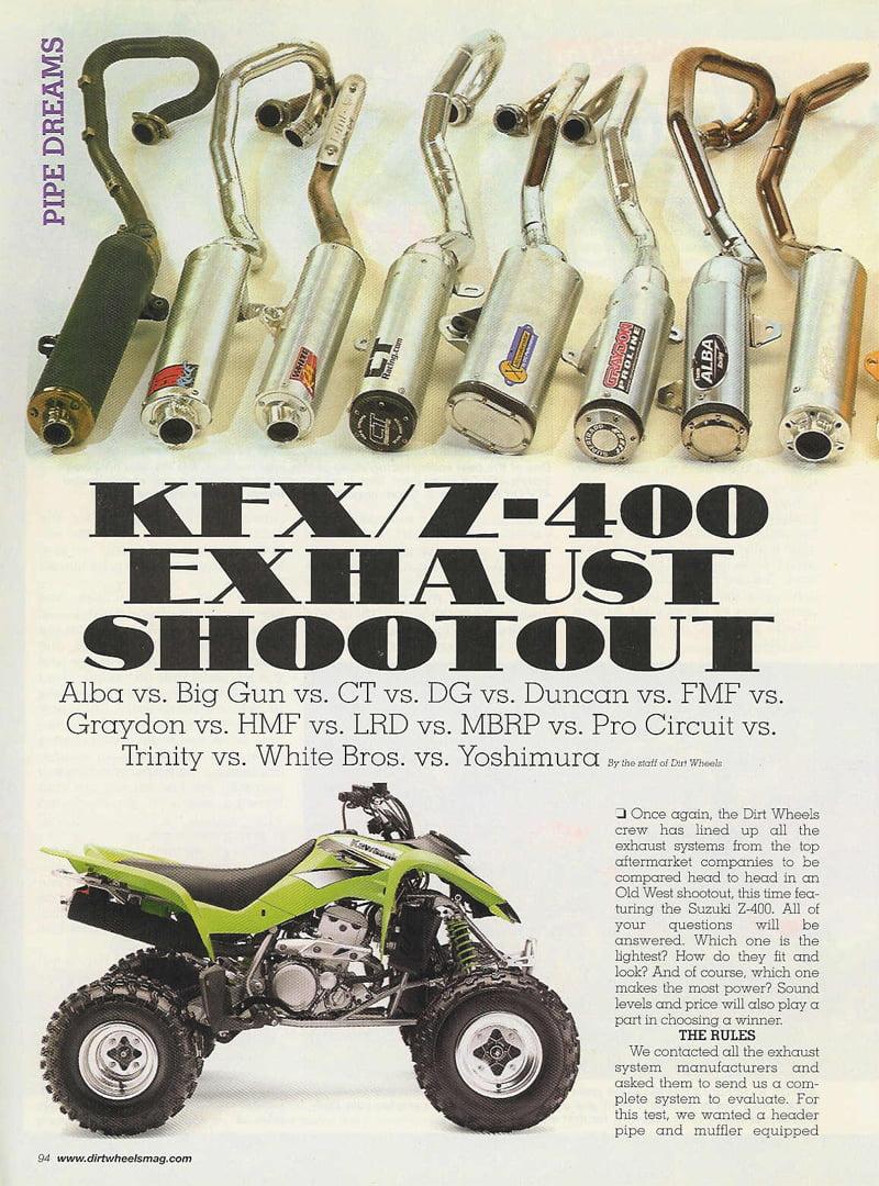 Suzuki quadsport z400 reviews prices and specs autos weblog suzuki - Dirt Wheels Ltz 400 Exhaust Shoot Out