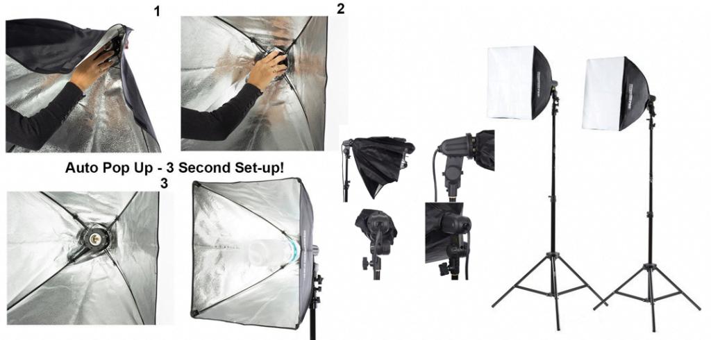 StudioPRO 1050 Watt Photography Continuous Video Photo Studio Softbox Lighting Kit - 2 x Square Auto Pop-up Set Up 20 Inch Softbox Lights