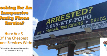 Funny billboard with a vanity number example on it for the list of top vanity phone service providers list page.