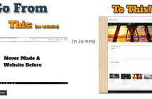 Picture showing the difference between no website and the finished blog website install 20 minutes later.