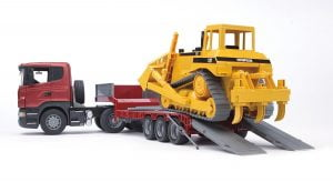 Bruder Semi Truck With RC Bulldozer Toy Trailer Combo