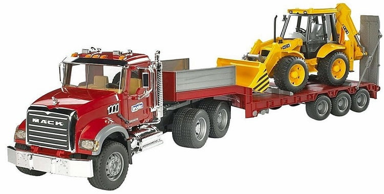 mack-semi-tractor-trailer-with-backhoe-loader-toy