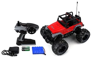 Cross Country Muddy SUV Remote Control RC Truck 1:16 Scale Rechargeable w/ Custom Mud Splatter Paint Job, Working Suspension, Spring Shock Absorbers (Colors May Vary)