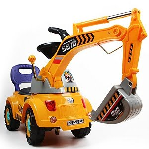 Digger scooter, Ride-on excavator, Pulling cart, Pretend play construction truck
