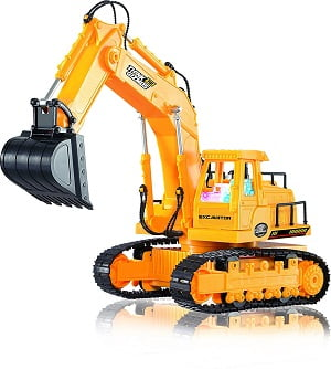 Remote Control Toy Excavator Construction Vehicle TG643 – 7 Channel Full Function RC Excavator Toy For Boys - With Lights & Sounds By ThinkGizmos (Trademark Protected)