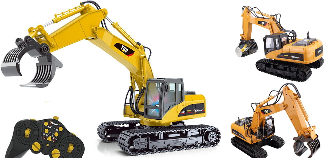 Top Race RC Excavator With Claw Logging Bucket Attachmemt