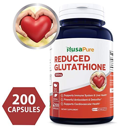 Best Reduced Glutathione 500mg - 200 Capsules Non-GMO & Gluten Free - L-Glutathione Antioxidant Support Liver Health & Detox - Max Strength L Glutathione Pills Help Immune & Brain Function
