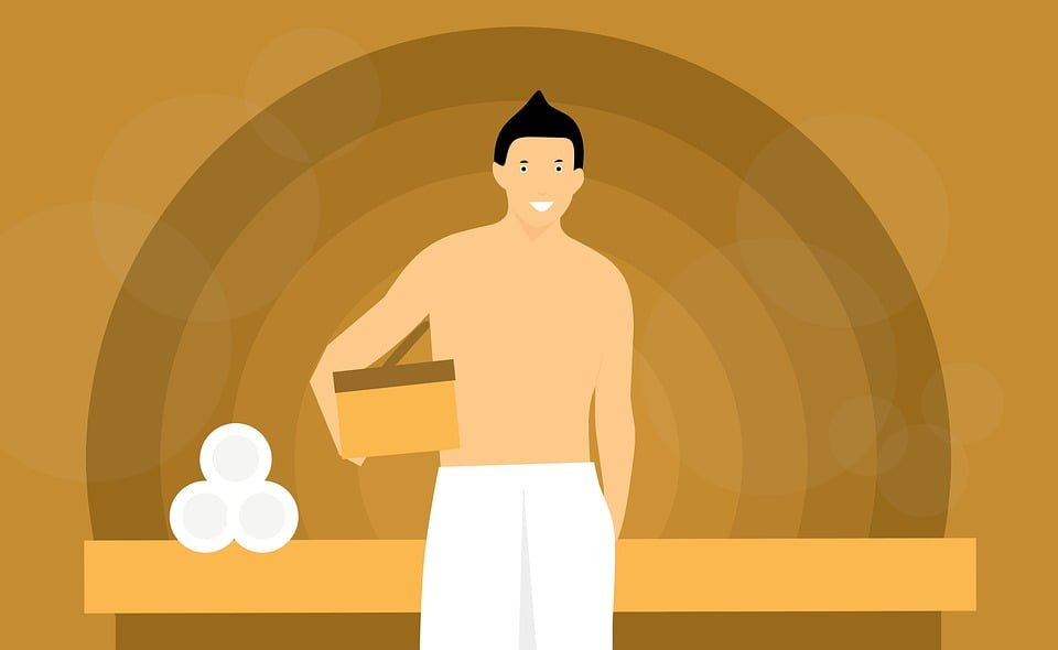 Sauna, Man, Relaxing, Towel, Beauty, Body, Square, Spa